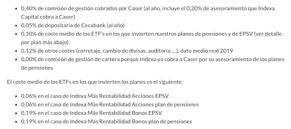 Coste de los planes de pensiones de Indexa Capital